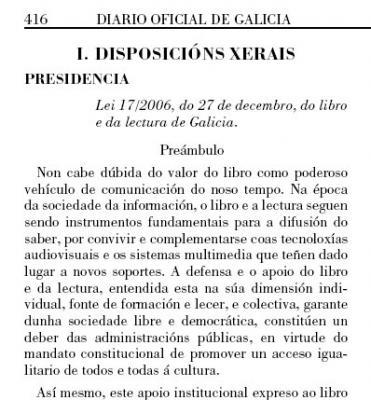 Nova Lei do libro e da lectura de Galicia