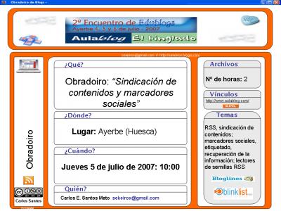 2º Encuentro de Edublogs: Marcadores sociales y sindicación de contenidos.... por pelotas (Versión Castellano)